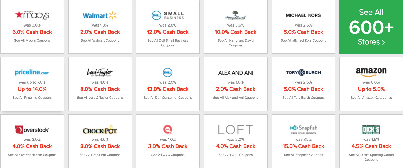 Ebates Store Percentage